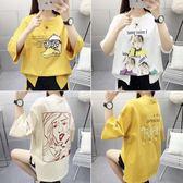 夏裝新款韓版休閑時尚短袖T恤女寬松卡通印花半袖上衣