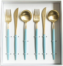 Cutipol【日本代購】葡萄牙 GOA系列餐具 綠松石/金晚餐6件套