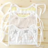 口水巾系列 3條裝方形綁帶式圍嘴寶寶新生兒純棉防水系帶圍兜嬰兒扎帶口水巾 好樂匯