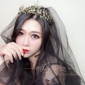 黑色頭紗拍照短款復古暗黑韓式森繫新娘頭紗 全館免運