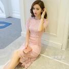 洋裝2018夏裝新品名媛氣質修身包臀裙短袖中長版小香風蕾絲連身裙S-2XL