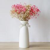 滿天星干花帶花瓶客廳辦公室小清新餐桌陶瓷擺件家居裝飾北歐【全館免運八折下殺】
