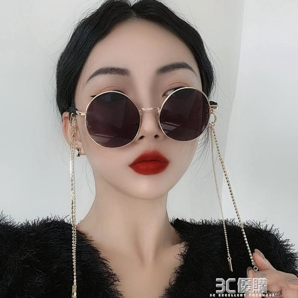 圓框黑色帶鏈條墨鏡女網紅復古港風太子鏡蹦迪嘻哈眼鏡韓版太陽鏡 3C優購