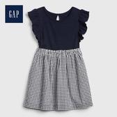 Gap 女幼童 荷葉邊飾圓領洋裝 539844-海軍藍色