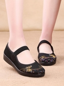 夏季中老年軟底透氣女鞋平底防滑老北京布鞋老太太網面奶奶網鞋女 『居享優品』