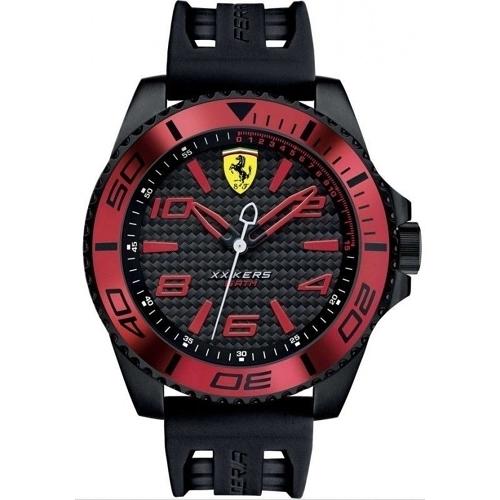 FERRARI 法拉利RedRev速度計時快感運動時尚腕錶/紅/0830306