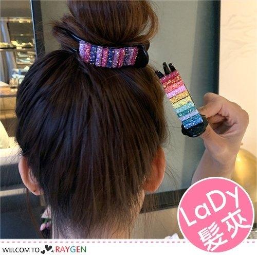 韓式女孩彩紅糖造型髮夾 丸子頭盤髮抓夾 髮飾 2色/組
