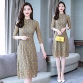 改良式旗袍 顯瘦大尺碼連身裙中國風年輕少女氣質碎花蕾絲裙 快速出貨