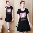 【GZ22】年夏季新款韓版大碼女裝胖MM純棉T恤印花減齡連身裙洋裝9057