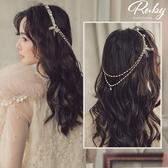 髮飾 韓國直送‧蕾絲珍珠垂墜鍊條髮箍-Ruby s 露比午茶