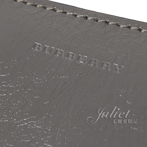 茱麗葉精品【專櫃款 全新現貨】BURBERRY 8006617 Banner 亮面全牛皮手提兩用包.灰