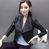皮衣 黑色機車服女式PU皮外套短款修身夾克翻領小皮衣