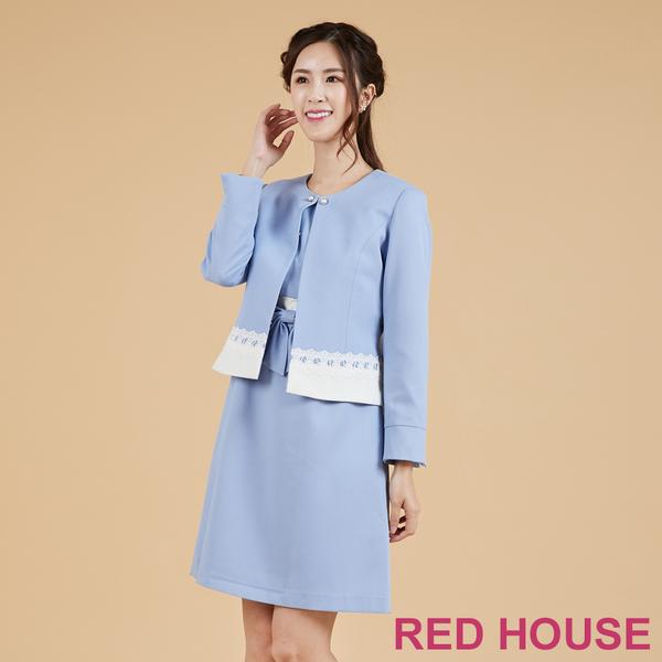 Red House 蕾赫斯-拼色剪接短版外套(藍色)