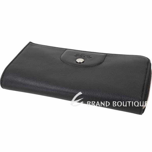 LONGCHAMP Le Pliage Cuir L型小羊皮拉鍊長夾(黑色) 1920834-01