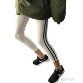 運動打底褲女夏季薄款側雙杠緊身顯瘦七分大碼外穿跑步小 伊芙莎