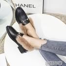 一腳蹬皮鞋毛毛鞋女新款冬季真兔毛粗跟樂福鞋時尚一腳蹬加絨小皮鞋 快速出貨