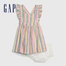 Gap女嬰撞色豎條紋方領洋裝580596-彩色條紋
