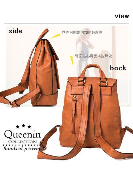 DF Queenin日韓 - 任意依戀韓劇同款仿皮後背包-共3色