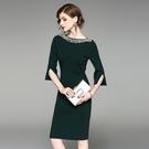 洋裝-中袖一字領釘珠純色針織女連身裙2色73of118【巴黎精品】