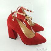 歐美夏季時尚中跟高跟尖頭一字扣單鞋婚鞋伴娘鞋 可可鞋櫃