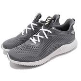 【海外限定】adidas 慢跑鞋 AlphaBounce EM M 灰 白 鯊魚腮 回彈舒適 男鞋 運動鞋【PUMP306】 CQ1342