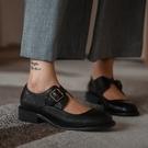 手工真皮女鞋34~40 2020新款頭層牛皮復古學院風作舊圓頭瑪莉珍鞋 中跟鞋~2色