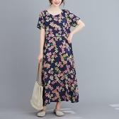 依多多 民族風棉麻短袖連身裙 1色(M~2XL)