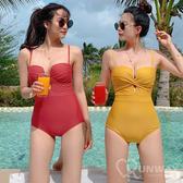 V字露胸 前交叉聚攏設計 時尚多色 連身泳裝 特色剪裁 舒適無鋼圈 比基尼 泳衣