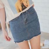 MUMU【P36811】前短後長牛仔短裙。兩色