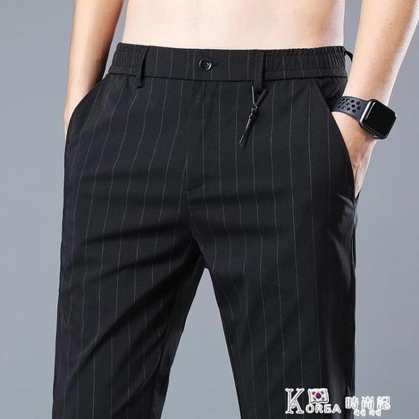 西褲-夏天冰絲男士休閒褲超薄款直筒韓版潮流修身運動長褲子男上班西褲