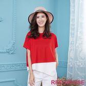 Red House 蕾赫斯-不規則剪裁配色上衣(共2色) 年前出清 滿599元才出貨