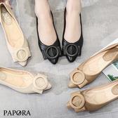 PAPORA輕量O扣休閒平底娃娃包鞋KM423黑/米/杏(偏小)