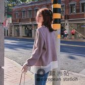 港風毛衣外套女秋復古寬松韓版學生拼接短款針織開衫「歐洲站」
