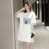 夏季新款假兩件短袖網紗t恤女中長款百搭寬鬆網紅連身裙子春潮 韓國時尚週