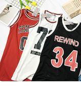 球衣中長款韓版無袖數字運動球衣女原宿寬鬆bf風籃球服學生背心t恤潮 曼莎時尚