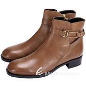 TOD'S 金屬方框設計牛皮短靴(棕色) 1510377-B3
