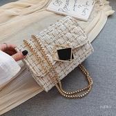 斜挎包 ins超火呢子包包女包新款潮2019流行正韓時尚百搭鏈條單肩斜挎包【快速出貨】
