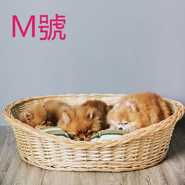 My zoo動物緣 賴床M號送睡墊 寵物床 編織竹籐寵物床 睡墊【BK0513】Loxin