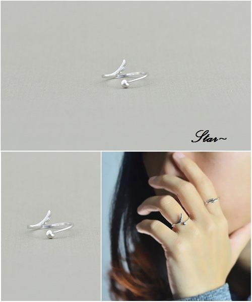 Star 銀色系列 -銀飾天使翅膀設計指環(S925)-A7