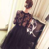 小禮服蕾絲刺繡復古長袖長裙修身連衣裙蓬蓬網紗裙子超仙女裝 LI1699『時尚玩家』