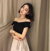 背心小可愛-新款百搭港味復古韓版時尚小飛袖針織衫漏肩純色套頭上衣-薇格嚴選