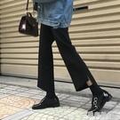 不規則九分西褲春夏新款百搭寬鬆高腰顯瘦休閒直筒褲學生女潮 快速出貨