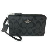 【COACH】立體LOGO PVC 皮革L型雙層拉鍊手拿包零錢包(黑灰)