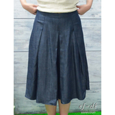 【ef-de】百摺優雅及膝長褲裙(深藍)