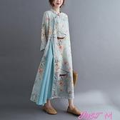 棉麻洋裝年秋季新款文藝大碼韓版大碼棉麻撞色盤扣連身裙 JUST M