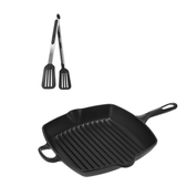 (組)鑄鐵黑琺瑯方型煎烤盤26cm+邦卡矽膠鏟夾30cm