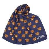 MOSCHINO 經典滿版TOY小熊莫代爾材質薄圍巾(深藍色)911007-002