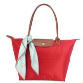 LONGCHAMP經典長提把中型尼龍摺疊水餃包(紅色-含帕巾)480132-7