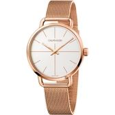 Calvin Klein CK Even 超然系列十字線米蘭帶手錶-銀x玫瑰金/42mm K7B21626