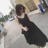 【榮耀3C】蕾絲長裙 秋季法式吊帶連身裙高腰蕾絲網紗裙v領無袖中長裙女  新品